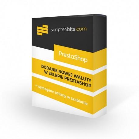 Dodanie i konfiguracja nowej waluty na sklepie PrestaShop